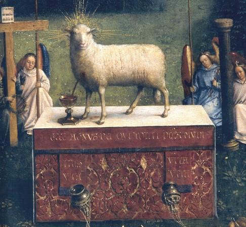 "•    Jan Van Eyck (Maastricht 1390 ca. - Bruges 1441), •    ""Polittico dell'agnello mistico"", 1426-1432,  •    Gand, Cattedrale di San Bavone"